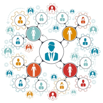 비즈니스 사람들이 팀 작업. 회사에서 팀워크의 관리 구조 계층.