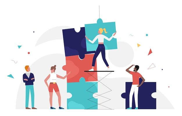 비즈니스 사람들이 팀 작업 퍼즐 개념