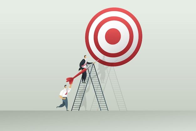 目標を達成するために従事するビジネスマンのチームワーク。マーケティングの概念。イラストベクトル