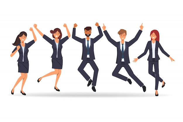 Business people in teamwork happy after successful job.