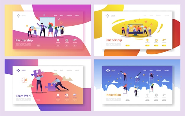 비즈니스 사람들이 팀워크 혁신 방문 페이지 세트.