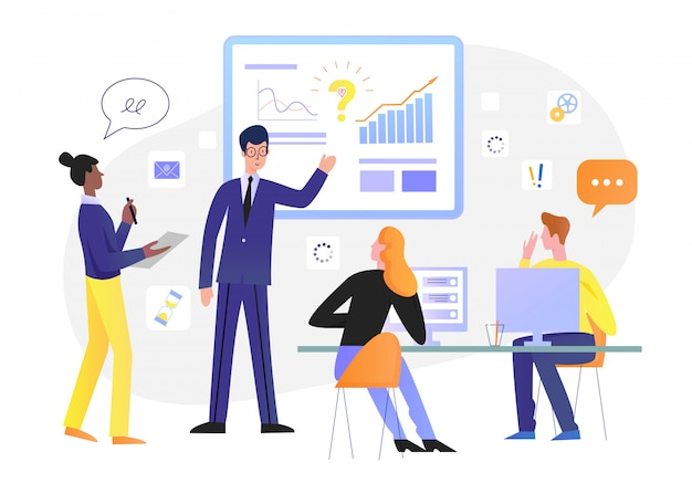 Business people teamwork in office illustration. cartoon flat businessman trainer teacher character training employee students team, working with corporate board presentation isolated on white