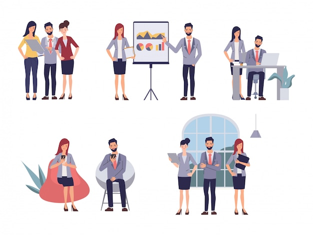 Business people teamwork office seminar meeting. cartoon vector illustration in flat style.