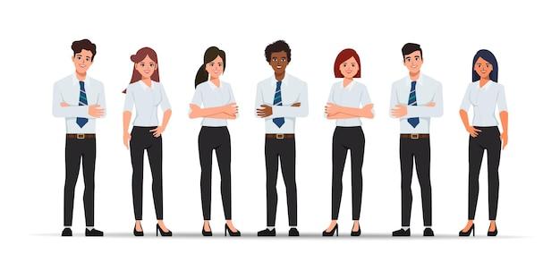 비즈니스 사람들이 팀워크 초상화 문자.