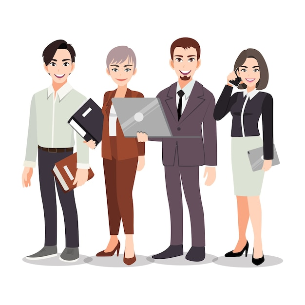Business people teamwork standing together on the white background