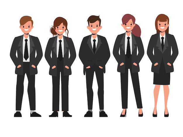 Lavoro di squadra di uomini d'affari in abiti neri uniformi