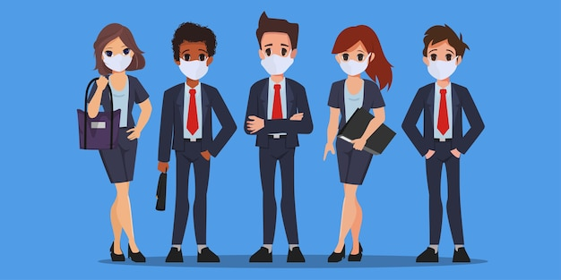 Работа в команде деловых людей, носить маску для лица.