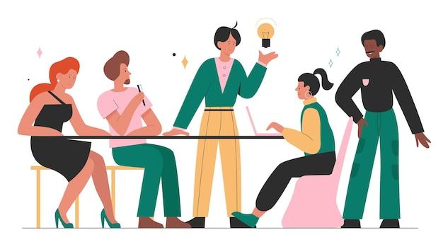新しいプロジェクトのアイデア戦略に関するブレーンストーミングに会うビジネスマンのチームワーク作業