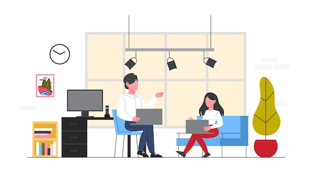 Business people at their workplace. woman and man sitting on the chair and working on the computer at the desk in the office. office interior.   illustration
