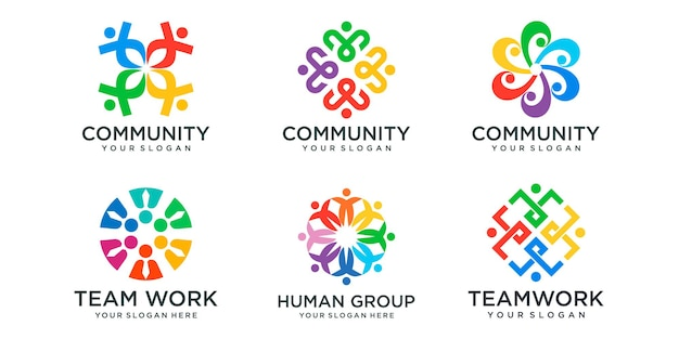 Business people together logo icon set. logo template can represent unity and solidarity in group