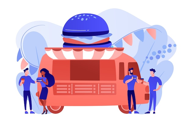Uomini d'affari al camion con hamburger mangiare fast food e bere caffè. festival del cibo di strada, rete alimentare locale, concetto di festival di cucina mondiale. pinkish coral bluevector illustrazione isolata