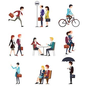 ビジネスマンの都会の野外活動。仕事のビジネスマン、男、話す実業家。男性と女性の文字セット。