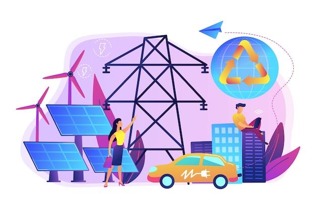 사업 사람들은 도시에서 깨끗한 재생 가능한 전기 에너지를 사용합니다. 재생 가능 에너지, 재생 가능 전력 자원, 농촌 에너지 서비스 개념.