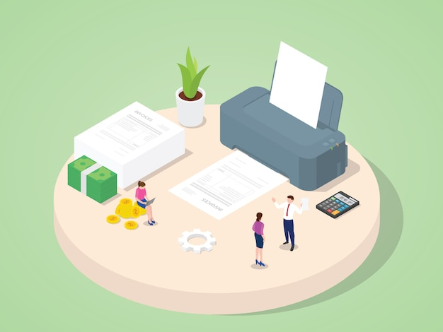 Business people use machine printing invoices purchase payment purchase transaction accounting document with isometric 3d flat cartoon style.