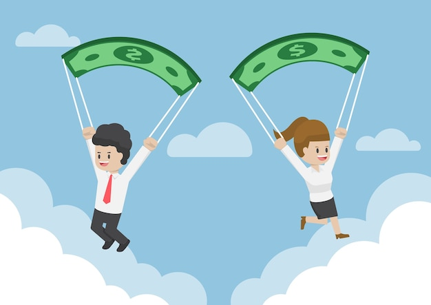 Business people using dollar banknote as a parachute