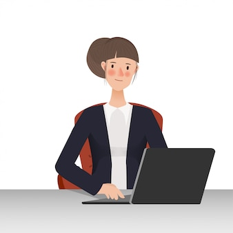Business people using laptop to communication. hand drawn working people character design.