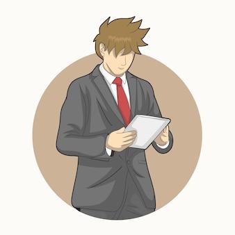 タブレットを使用しているビジネスマン
