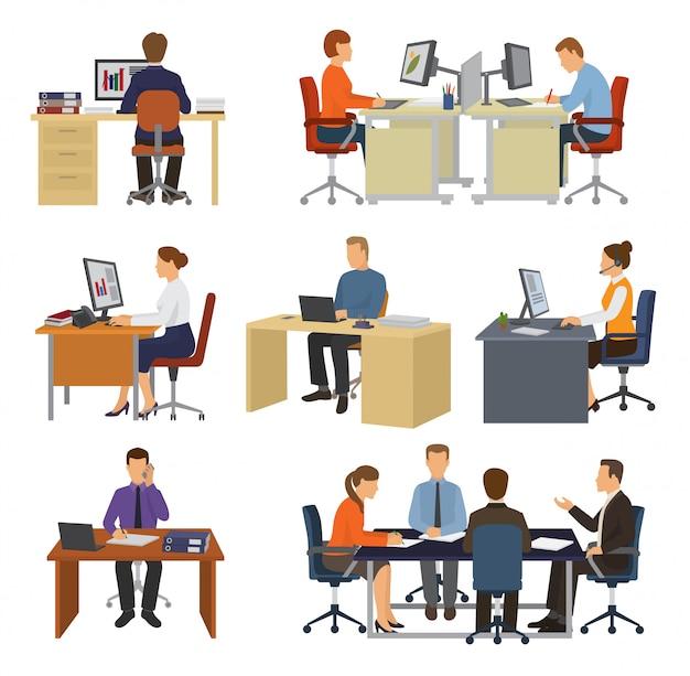Деловые люди вектор профессиональных работников, сидящих за столом с ноутбуком или компьютером в офисе иллюстрации набор бизнесменов, работающих в бизнес офис изолированы