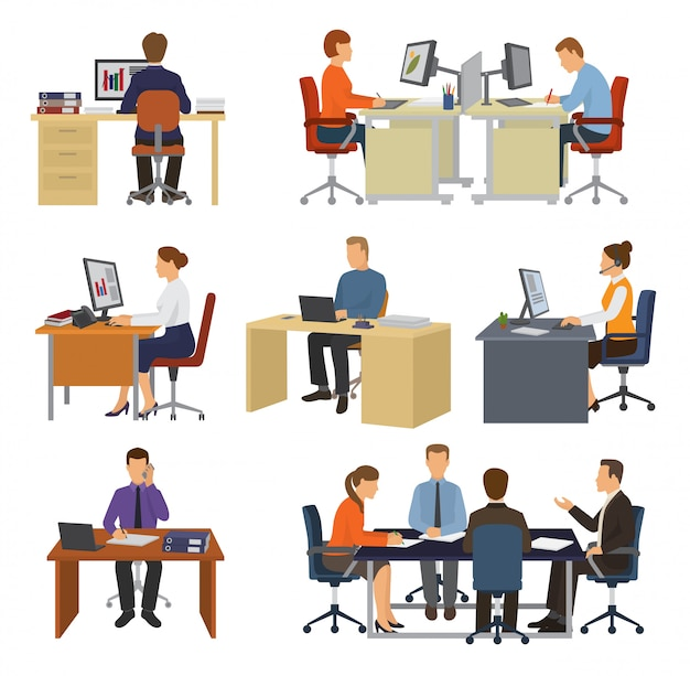 Business people vector professional workers sitting at table with laptop or computer in office illustration set of businessman working in business-office isolated