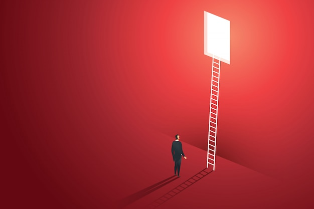 ビジネスの人々は、壁の赤いソリューションの機会創造的な概念の穴からはしごを登るビジョン。図