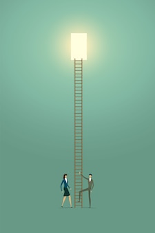 Business people vision creative concept solution opportunities on top of ladder success.