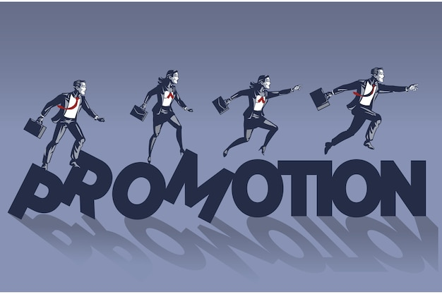 Business people walk on promotion text illustration concept