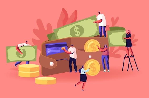 お金でいっぱいの巨大な財布の中を歩き回るビジネスマン。現金とクレジットカードの概念、漫画フラットイラスト