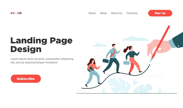 Business people walking up on increase chart line landing page