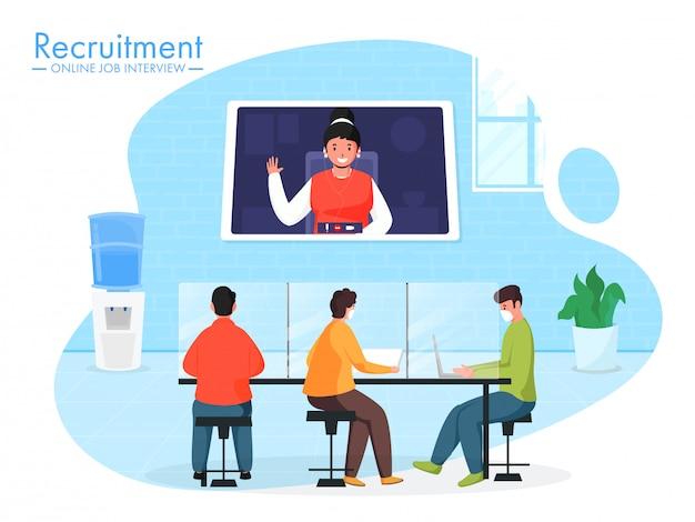 ビジネスの人々は、オンライン就職の面接調停の概念のためのビデオ会議を持つ職場で一緒に仕事中に防護マスクを着用します。
