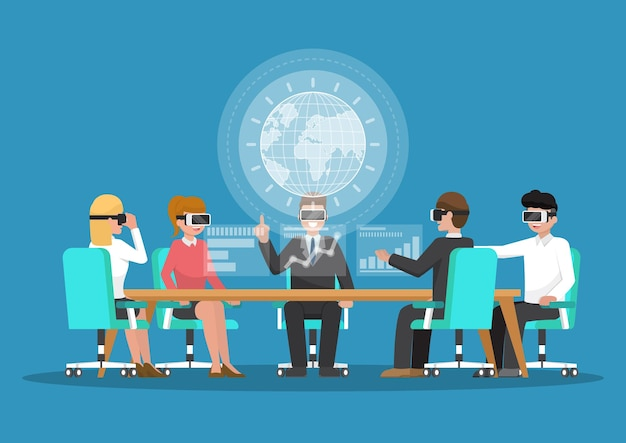 Деловые люди носят очки vr на конференции виртуальной реальности. концепция бизнеса и технологий