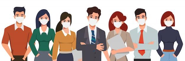Деловые люди, носящие профилактику маски для лица. остановить коронавирус covid19. новый нормальный образ жизни в повседневной жизни после вспышки коронавируса.