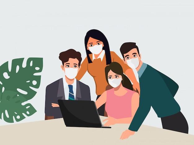 新しい通常のライフスタイル作業チームワークブレーンストーミング文字でフェイスマスクを着ているビジネス人々。