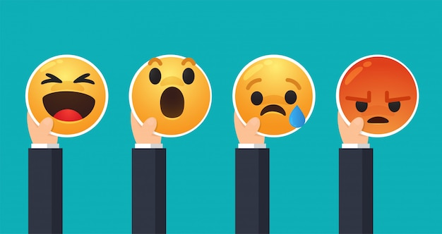 Business people who raise their hands to express emotions through the face of cartoon emoji.