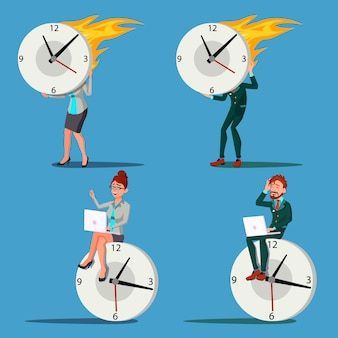 Business people with a big clock illustration set