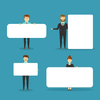 Business people with blank white boards of different size isolated