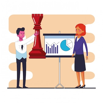 Business people with chess pieces and statistics on whiteboard vector illustration graphic design