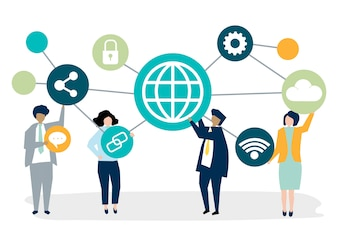 Business people with connection icons