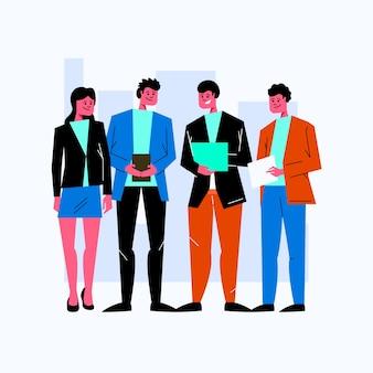 Gente di affari con l'illustrazione dei dispositivi