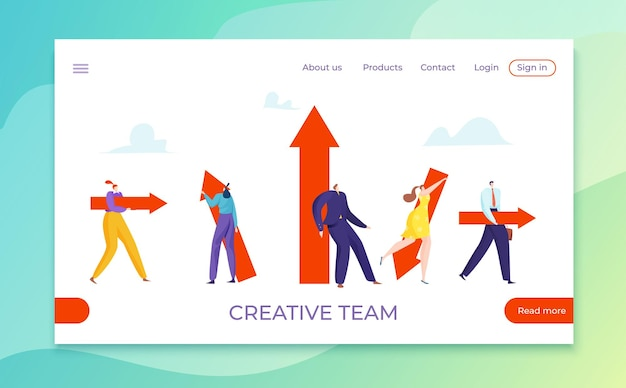 Business people with different direction, creative team arrow illustration