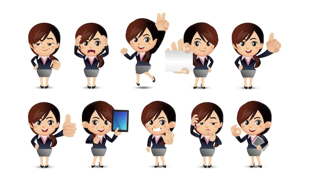 Business people with different poses