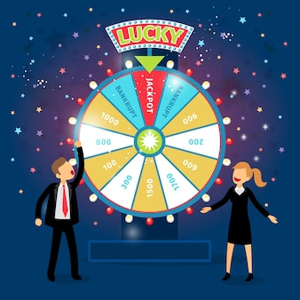 Business people with financial wheel of fortune. gambling concept. chance and risk, success and win, game and money.