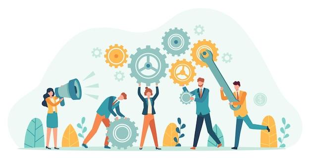 기어와 비즈니스 사람들입니다. 직원 팀은 톱니바퀴로 메커니즘을 만들고 메가폰으로 관리자를 만듭니다. 작은 사람 팀워크 동기 부여 벡터 개념입니다. 생산적으로 일하는 회사원의 아이디어