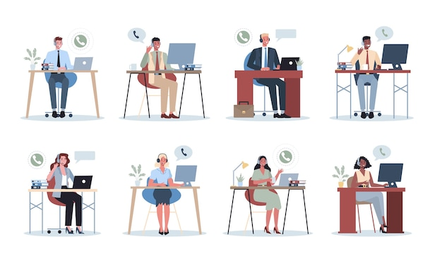 ヘッドフォンを持つビジネスマン。コールセンターオフィスのコンセプト。女性と男性のキャラクターがクライアントや同僚と話します。カスタマーサポートのアイデア。支援作業。 。