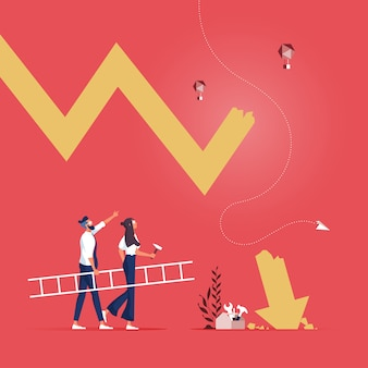 Деловые люди с лестницей готовятся исправить падающую стрелку как метафору бизнес-кризиса