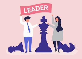 リーダーシップの旗と巨大なチェスのピースを持つビジネスマン