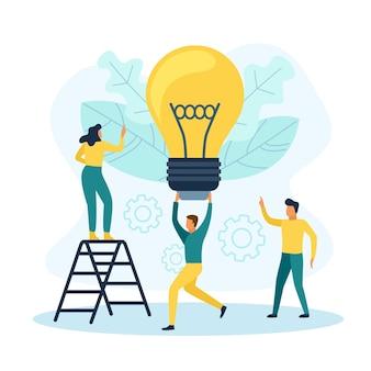 電球を持つビジネスマン。チームワークには新しい創造的なアイデアの概念があります
