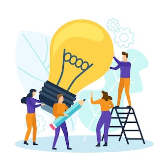 Business people with light bulb. teamwork have a new creative idea concept.