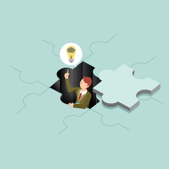 Business people with puzzle idea creative