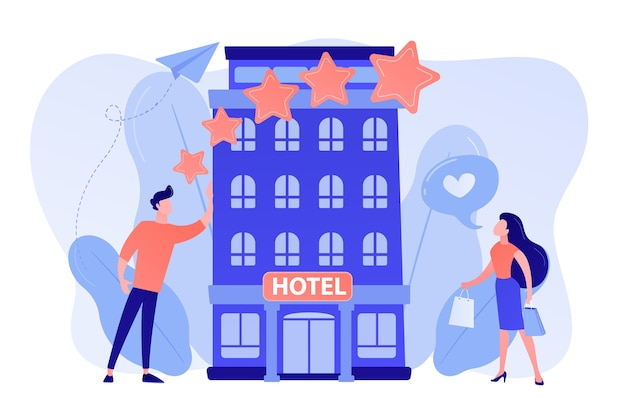 Uomini d'affari con stelle di rating come l'elegante boutique hotel