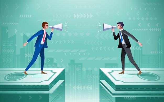 お金の束の上に立ってスピーカーを持つビジネス人々。ビジネス討論の概念図